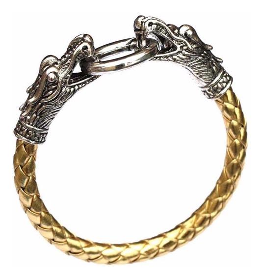 Pulseira Bracelete Masculina Couro Ouro Aço Inox Lxbr P31d