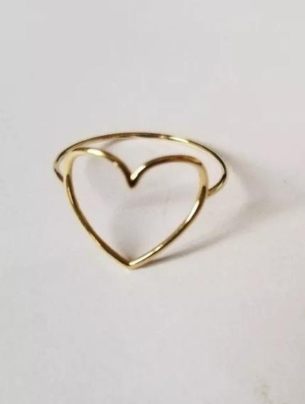 Anel Em Formato De Coração - Pureza De 750 Ouro Dezoito K