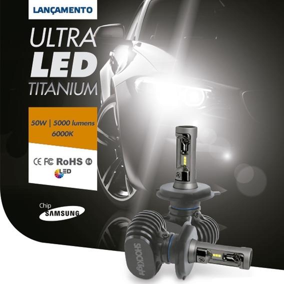 Kit Lâmpadas Ultra Led H3 Titanium 6k Shocklight 50w 10000l