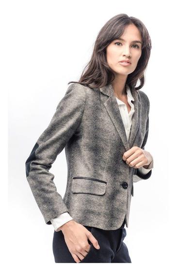 Blazer Mujer Cuero Lanilla Animal Print Elastizado Giacca