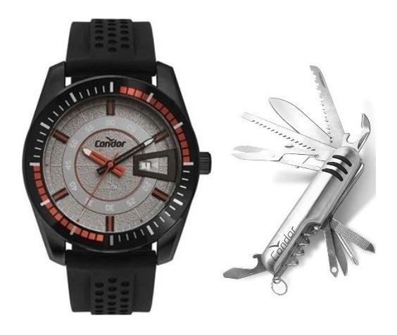 Relógio Condor Silicone + Canivete Co2115kwt/k2c