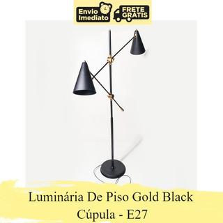Luminária De Piso Gold Black Cúpula Decor E27 Nordeste