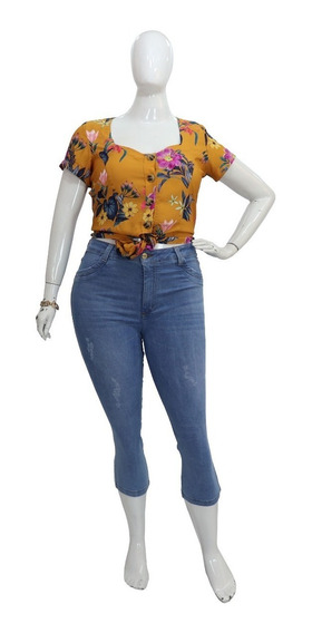 Calça Capri Jeans Plus Size Feminino Azul Claro Cambos Top