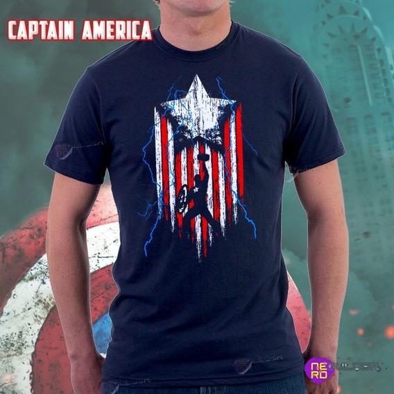 Camisa Capitão América Com Martelo Algodão Fio 30.1