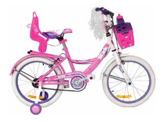 Bicicleta Stark Rodado 16 Nena Flowers Con Canasto Y Sillita