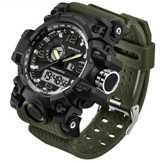 Relógio Exercíto Pulso Verde Musgo Led Digital Esportivo