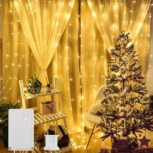 Imagen 1 de 10 de 3x3m Cortina Guirnalda Navidad Decorativa Fiesta Luz 300 Led