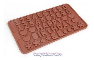 1pz Molde Numeros Letra Cumpleaños Corazon Chocolate Fondant
