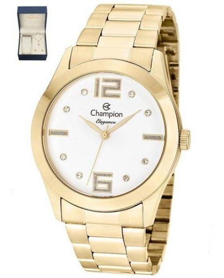 Kit Relógio Feminino Champion Cn26555w Analógico Dourado