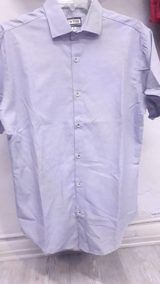 Camisa De Hombre Azul Punteada 01