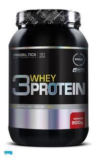 3 Whey Protein 900g Morango Probiótica
