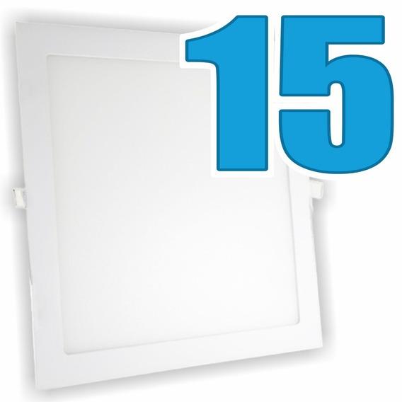 Kit 15 Painel Plafon Luminária Embutir Quadrado 6w Bivolt