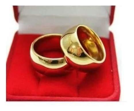 Aliança De Casamento Folheado A Ouro Par + Anel Solitario