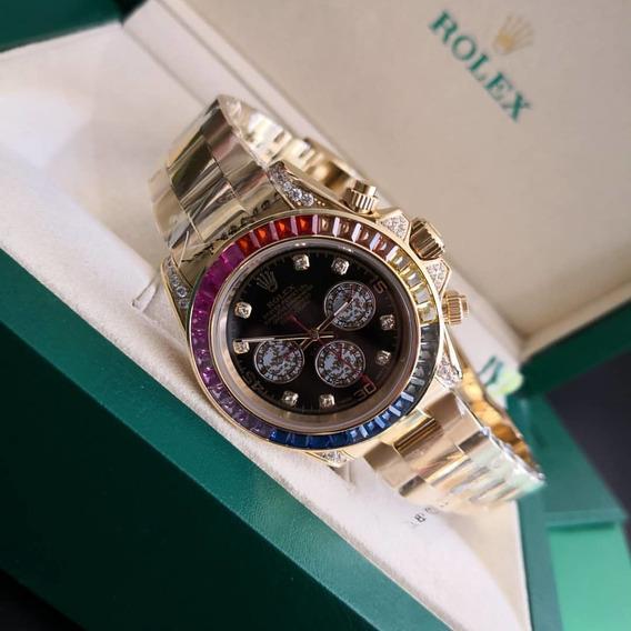 Relógio Rolex Oyster Perpectual, Banhado, Cravejado, 100mts
