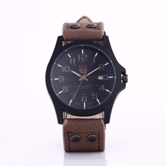 Relógio Masculino De Luxo Em Couro Barato Com Frete Grátis
