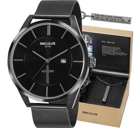 Kit Relógio Seculus Masculino Pai Nosso Nota 20769gpskpa1k1