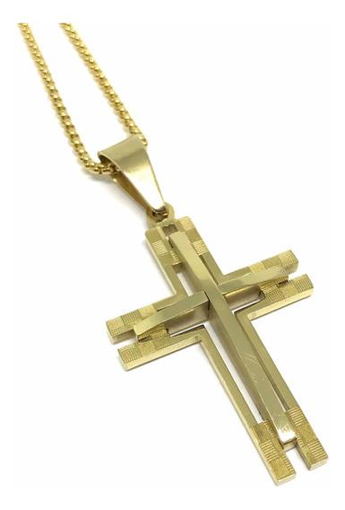Colar Em Aço Crucifixo Medieval Dourado