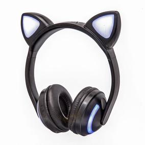 Fone De Ouvido Bluetooth Orelha De Gato Com Led Celular P2