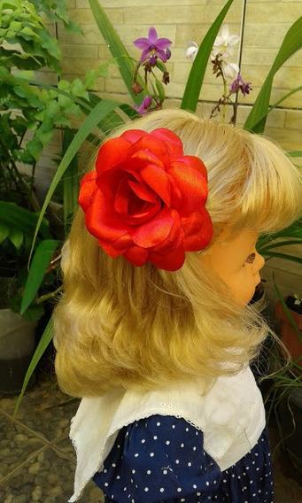 1 Rosa Flor De Cabelo Presilha Enfeite