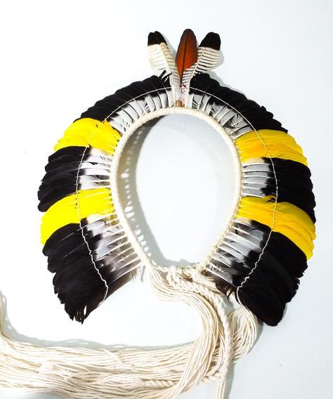 Cocar Indigena Para Quadro Ou Uso Índio Nativo Exclusivo