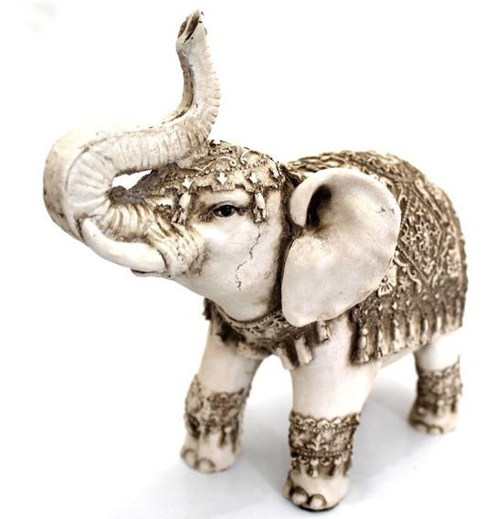 Elefante Indiano Escultura Resina Branco 19 Cm Decorativo