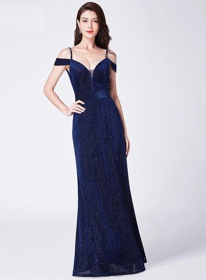 Vestido Fiesta Negro Azul Talla 6 8 10 12 Ep 123