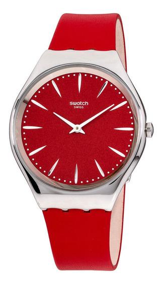 Relógio Unissex Swatch Syxs119 Pulseira De Couro