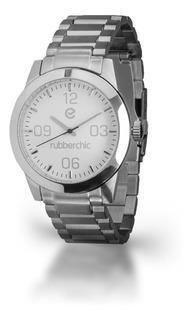 Reloj De Acero Cromado Sumergible Rubberchic Luxe Silver