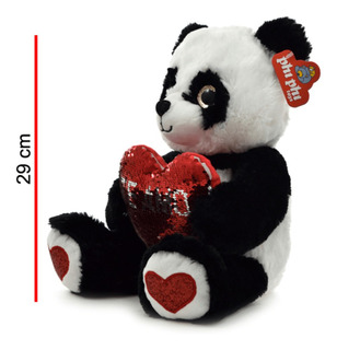 Oso De Peluche Panda C/ Corazón De Lentejuelas