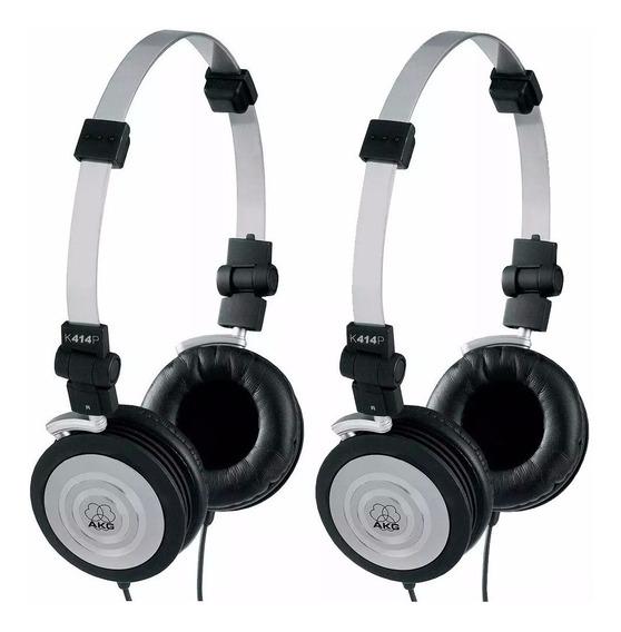 Kit 2 Fones De Ouvido Headphone Akg Profissional K414p Dj