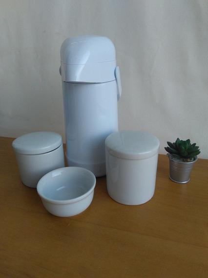 Kit Higiene 3 Porcelana Branca + Garrafa Termica Termolar