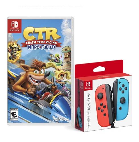 Joy Con Neon Azul Y Rojo + Crash Team Racing Nintendo Switch