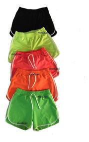 Shorts Neon Feminino Crepe Com Cadarço Carnaval P M G Gg
