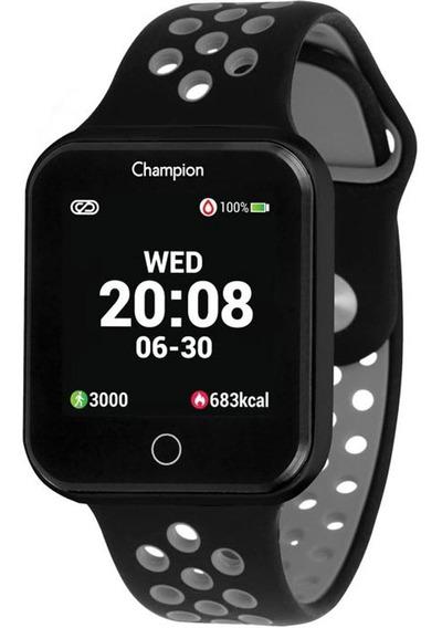 Relógio Champion Smartwatch Bluetooth 4.0 Preto Preta/cinza