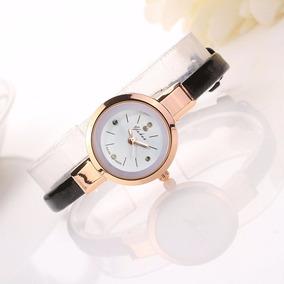 Relógio E Pulseira Feminino Rose Gold Couro Eco -rel