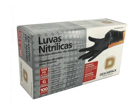 Luva Preta Nitrilo Preta M Descarpack Tatuagem + Brinde
