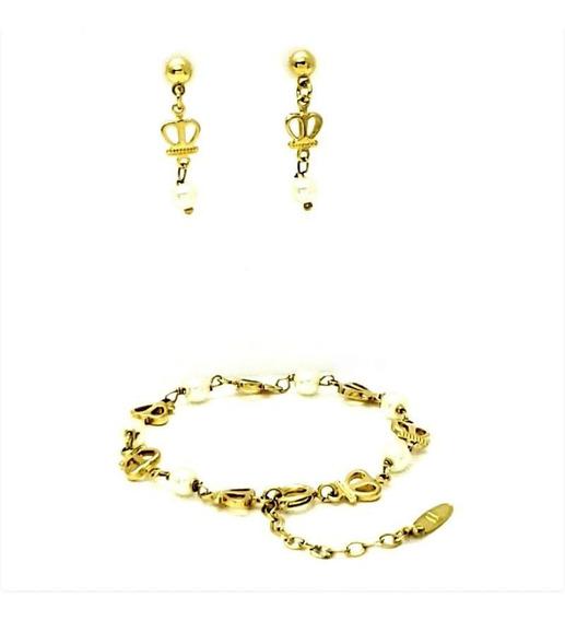 Brinco Infantil Pulseira Coroa Pérola Banhado Ouro 1315 1405