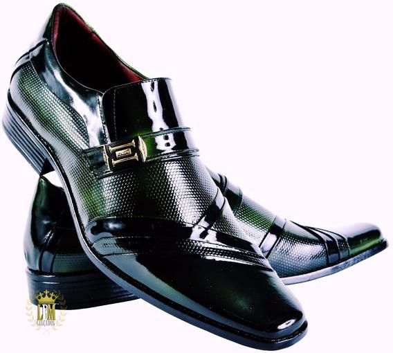 Sapato Italiano Verniz Verde Brilhante Gofer V4521