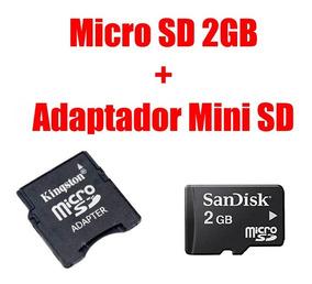 Micro Sd 2gb + Adaptador Mini Sd Kingston - Frete Barato