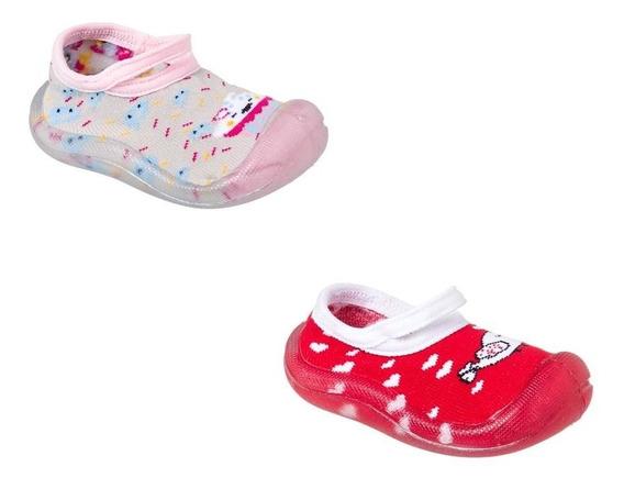 Kit 2 Pares Meia Sapatilha Com Sola Antiderrapante Infantil Menina Rosa E Vermelha