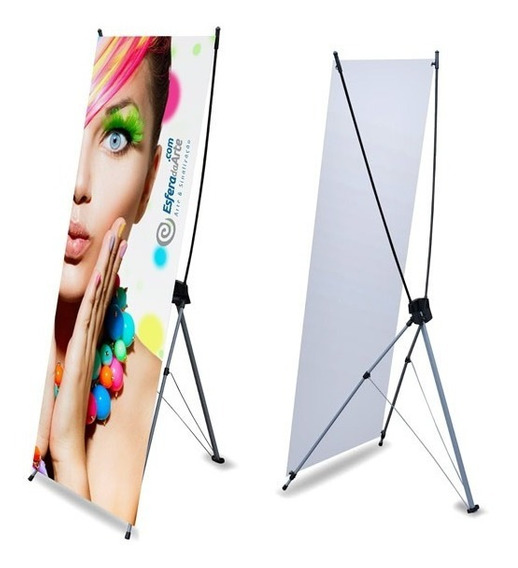 Porta Banner X 90x200cm Com Mídia Impressa