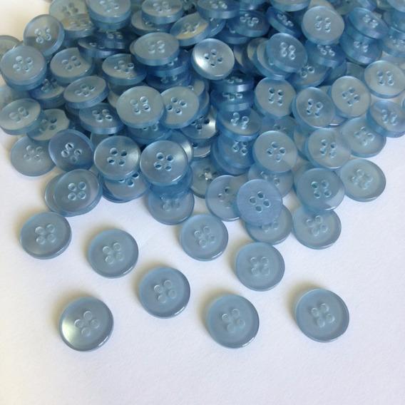 Botão Camisaria Poliéster 4 Furos Azul Claro 14mm 100 Peças