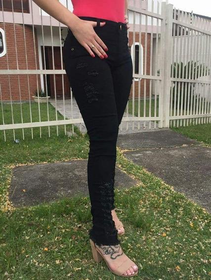 Calça Jeans Preta Feminina Skinny Desfiada