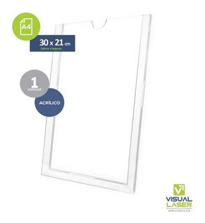 Porta Folha Display A4 21x30cm Parede Acrílico Com Fita