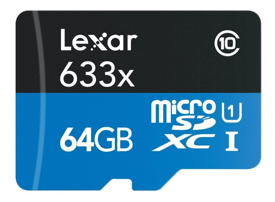Cartão Lexar Micro Sd 64gb 633x 95 Mb/s Classe 10 4k Gopro 4