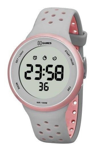 Relógio X-games Feminino Digital Xfppd039 Cinza Rosa (nf)