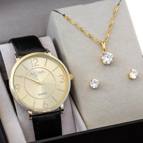 Relógio Nowa Feminino Dourado Couro Nw1412k Original+brinde