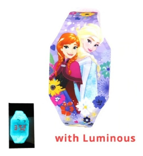 Relógio Infantil Elsa Frozen Disney Rosa Luzes Brilho Noite