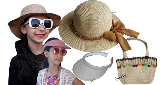 Bolsa Praia Infantil + Chapéu Menina 4 Até 8 Anos + Viseira Kit