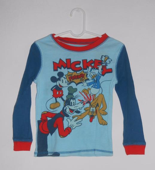 Disney Playera Pijama Mickey Donald Pluto Tribilin 4 Años